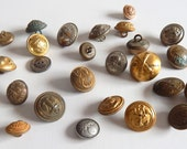25 Mixed Vintage Military Buttons