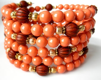 Coral Swarovski Pearl Memory Wire Bracelet with Gold and Wood Accent for Summer, Coil Bracelet, Peach Orange Wrap Around Bracelet, Wide Cuff
