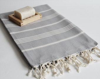 SALE 50 OFF/ Turkish Beach Bath Towel / Classic Peshtemal / Warm Gray / Wedding Gift, Spa, Swim, Pool Towels and Pareo
