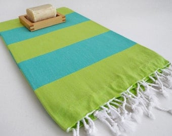 Shipping with FedEx - Turkish BATH Towel - Classic Peshtemal - Beach, Spa, Swim, Pool Towels and Pareo - Turquoise - Green