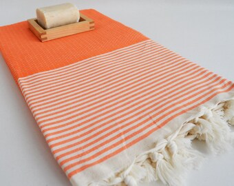 Shipping with FedEx - Bathstyle Turkish BATH Towel Peshtemal - Orange - White - Bath, Beach, Spa, Swim, Pool Towels
