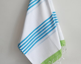 SALE 50 OFF/ Turkish Beach Bath Towel / Classic Peshtemal / Green Blue / Wedding Gift, Spa, Swim, Pool Towels and Pareo
