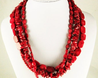 Red Hot CORAL STERLING Silver Multi-Strand NECKLACE, Spring Choker Mothers Day Business Wear Casual Wear
