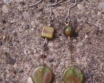 Green Glass and Stone earrings