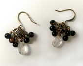 Antiqued Brass Earrings With Faceted Citrine Gems and Round Black Agate Gems