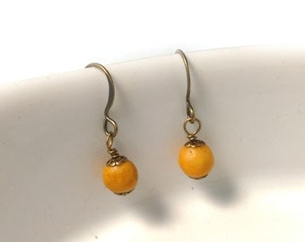 Mustard Yellow Marble on Antiqued Gold Plated Brass Bronze Earrings