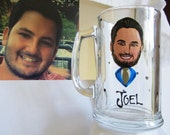 Hand Painted Groomsman Wedding  Beer Glass Caricature Portrait  Bride Bridesmaid Wine Beer Personalized