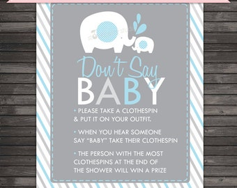 Elephant Baby Shower Don't Say Baby Game Sign Printable - Blue and Gray - Clothespins Game - Don't Say Baby Sign - Boy Baby Shower Games
