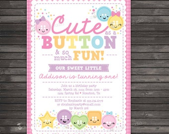 Cute As A Button Birthday Invitation Printable - Craft Party - Girl 1st Birthday Party Invitation - Cute As A Button Invitation - Pink