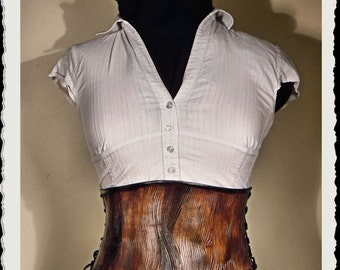 Wooden leather cincher / belt corset