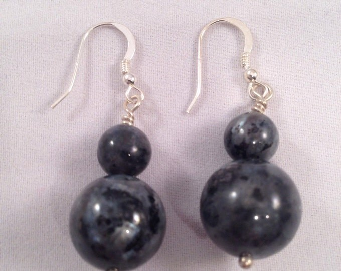 Larvikite Sterling Silver Earrings - Full moon Night Sky earrings for psychic abilities, astral travel, weight loss & dispelling magick