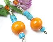 Orange Turquoise Dangle Earrings, Lampwork Beads, Blue Howlite, Crystals, Beach or Southwest Style, Handmade Beach Boho Jewelry