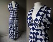 Vintage NAUTICAL MAXI Dress - 70's Blue & White Sleeveless Long Dress - Medium / Large