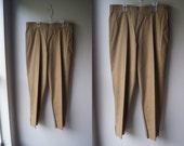 Vintage YVES SAINT LAURENT Brown Cigar Pants Capris ysl Pants Vintage ysl medium pants Tan Pants Tan Capris Brown Pants Flat Front Pants