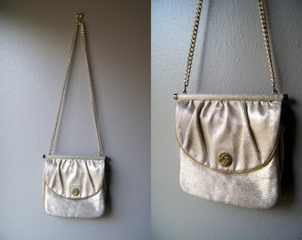 Vintage 50's DOUBLE SIDED Gold Evening Purse Evening Bag Gold Bag 50's Handbag Gold Purse Small Purse Gold Chain Purse 50's Purse Metallic