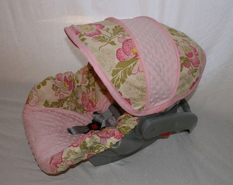 Pink Lotus flowers and light pink minky Infant car seat cover - Custom order