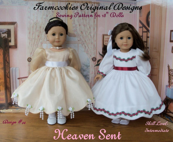 "PRINTED Sewing Pattern / HEAVEN SENT /  Patterns for American Girl or Other 18"" Dolls"