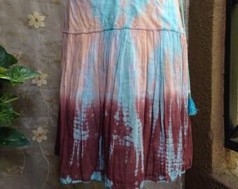 MEDIUM, Bohemian Gypsy Hippie Tie Dyed Cotton Skirt