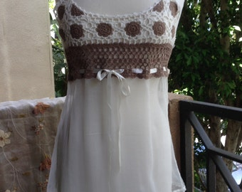 SMALL, Top Romantic Flowerchild Hippie Bohemian Crotcheted Silk and Cotton Top