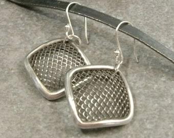 Silver Dangle Earrings- Silver Earrings- Dangle Earings- Abstract Jewellery- Mesh Wire Earrings- Fine Silver Jewelry- Garden Fence Earrings