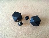 Double Sided earrings- Fake Gauges, Black Earrings, Gift Idea