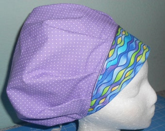 FREE SHIPPING in U.S...BOUFFANT Surgical Srub hat w/ Decorative Piping
