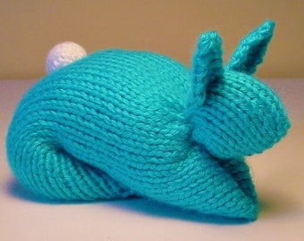 Stuffed Bunny Toy Hand-Knit in Turquoise Blue