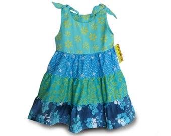 3 Tier Girls Dress, Blue Ruffles Dress, 3 Tier Ruffles