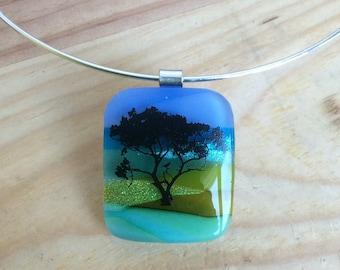 Arbor Bliss Fused Glass Landscape Pendant