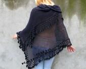 of irregular shape shawl, wrap,  Women Accessories Crochet/knit shawl with floral details,dark dark gray, amethyst gray