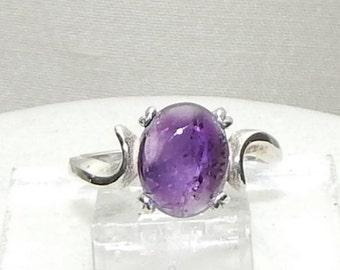 Amethyst sterling ring,Amethyst engagement ring,Purple amethyst fashion ring,Purple amethyst Valentine's gift ring,Purple Amethyst cocktail