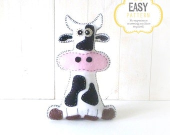 Cow Stuffed Animal Sewing Pattern, Plush Cow Sewing Pattern, Felt Cow Pattern, Instant Download PDF, Cow Plushie, Cow Softie