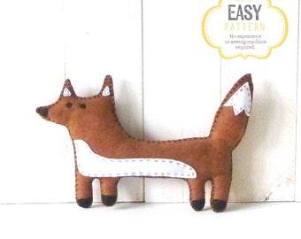 Fox Sewing Pattern, Fox Stuffed Animal Hand Sewing Pattern, Felt Fox Pattern, Fox Plushie, Fox Softie, Woodland Fox