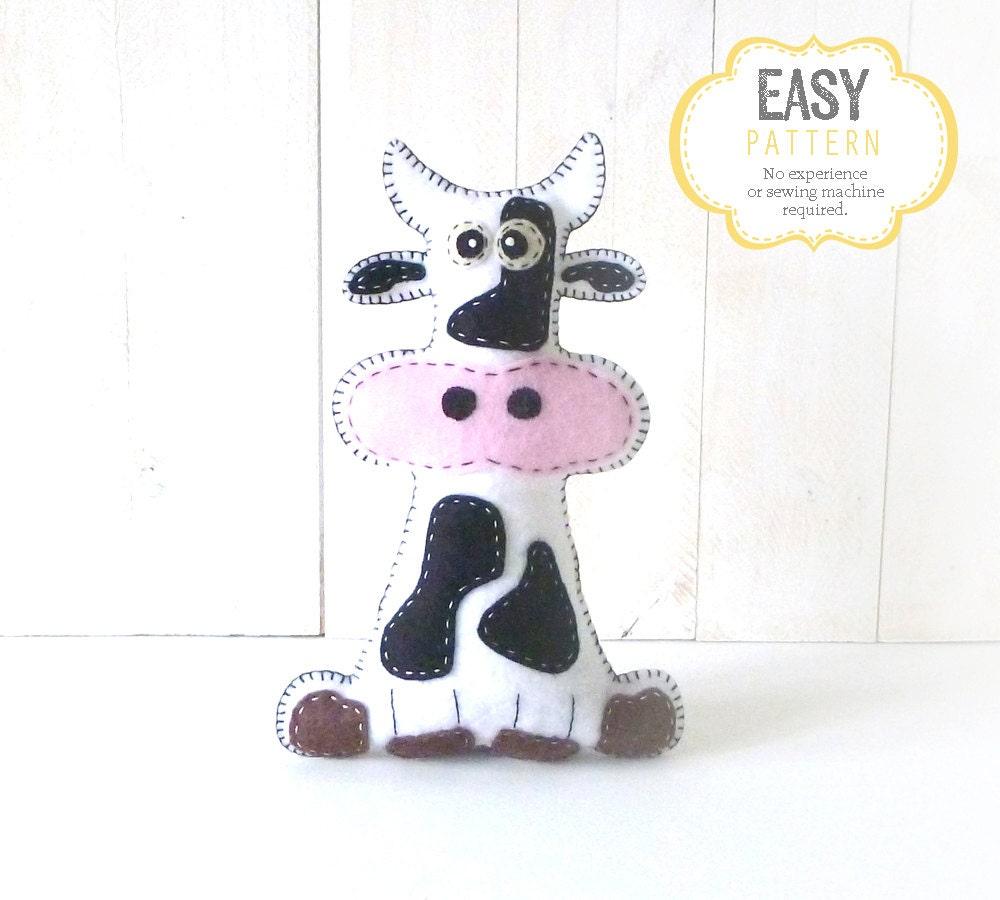 Cow stuffed animal sewing pattern plush cow sewing pattern zoomen jeuxipadfo Images