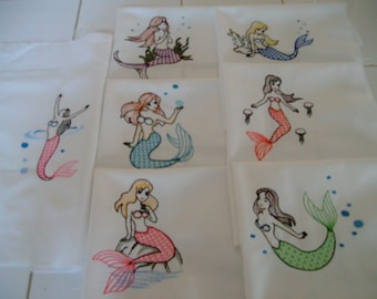 quilt blocks  embroidered quilt block set machine embroidered quilt blocks  mermaid quilt blocks embroidered mermaids