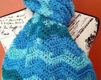 Ocean Ripple Crocheted Scarf - Ready to Ship