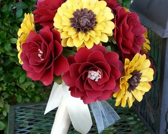 Paper Bouquet - Paper Flower Bouquet - Bridesmaids Bouquet - Summer Wedding - Sunflowers - Custom Made - Any Color