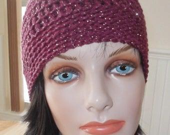 Raspberry Sparkle Beanie Crochet Beanie Women's Beanie Women's Crochet Beanie