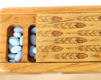 DISCONTINUED REDUCED PRICE Feathers Vitamin/Medication Box, Wooden Box, Medium Depth, Laser Engraved Box, All Solid Cherry, V4,  Paul Szewc