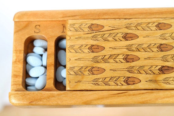Feathers Vitamin/Medication Box, Wooden Box, Medium Depth, Laser Engraved Box, All Solid Cherry, V4,  Paul Szewc