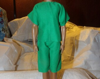 Board shorts & matching shirt in green for Male Fashion Dolls - kdc44