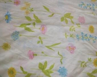 Pink, Blue, Yellow, Gold Long Stemmed Flowers Vintage Twin Flat Sheet