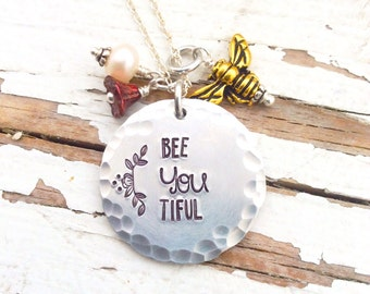 Hand Stamped Bee YOU Tiful Necklace Bumble bee freshwater pearl czech flower wire wrapped flower stamped hammered textured be you tiful
