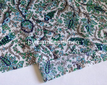 """fine cotton fabric,  paisley floral print cotton fabric, green, half yard by 54"""" wide"""