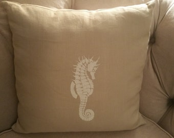 hand screened seahorse on natural linen