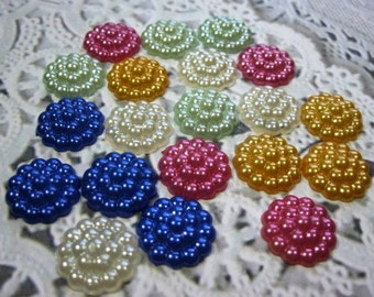 20 Mixed Colors Acrylic Flat Back Flower Faux Pearl Embellishments for Scrapbooking Cards Mini Albums Tags Papercrafts Jewelry DIY