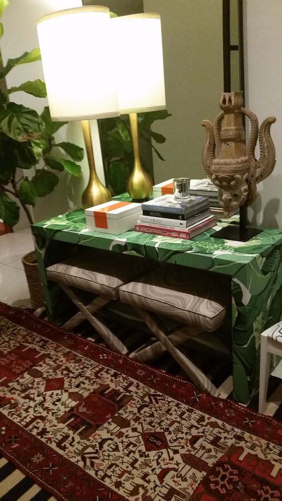 Upholstered Console Table - Waterfall Style - Custom Built - Design Your Own In ANY Fabric
