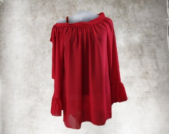 Tunic Red Blouse Baby Doll long sleeve Off shoulder top