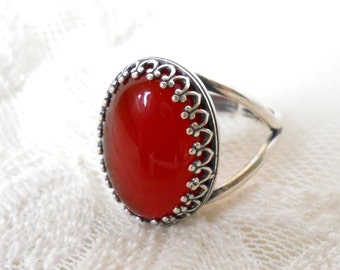 carnelian gemstone ring silver boho ring cabochon ring adjustable ring bohemian ring carnelian gemstone ring
