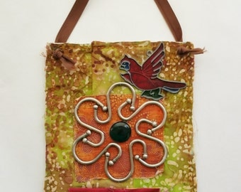 Fabric Collage Art Wall Hanging Flower and Bird Art